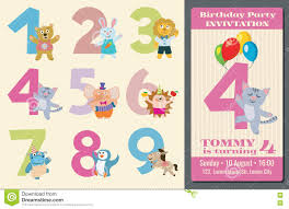Kids Birthday Party Invitation Card Kids Birthday Anniversary Numbers With Cartoon Animals Vector