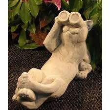 Cat Garden Decor Cat Figurine Statue Of A Cat Gray Cat By Westwindhomegarden