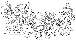 snow white and the seven dwarfs free coloring pages on art