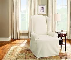 2 Piece Wing Chair Slipcover Amazon Com Sure Fit Duck Solid Wing Chair Slipcover Natural