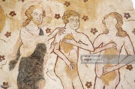 mural of adam and eve banished from the garden of eden dating from