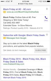 google store black friday google adwords testing text sms alert ad format