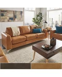 Beige Leather Loveseat Holiday Special Bastian Aniline Leather Sofa By Inspire Q Modern