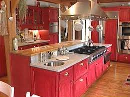 Kitchen Red Cabinets Efficiency Color Restored In Cook U0027s Kitchen Hgtv
