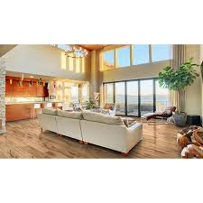 Style Selection Laminate Flooring Style Selections 7 6 In W X 4 23 Ft L Natural Acacia Smooth Wood