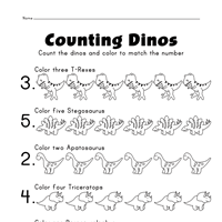 count the dinosaurs numbers 1 5 worksheets all kids network