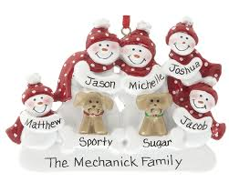 snowman family of 5 with 2 dogs personalized ornament