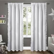 Winter Window Curtains Ruffles Winter White Rod Pocket Top Window Curtain Ek5306 01 2 84r