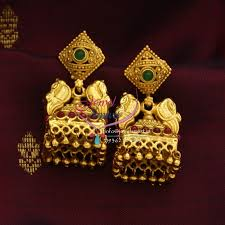 gold earrings jhumka design e0679 exclusive gold design jewellery online lock jhumka