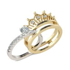 crown wedding rings jeulia interchangeable crown two tone created white sapphire
