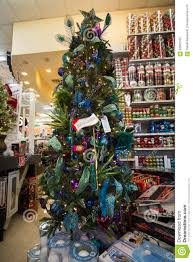 christmas holiday tree display at retail store editorial image