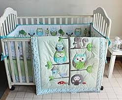 Nursery Crib Bedding Sets Green Owl Bird Embroidered 7pcs Crib Set Baby Bedding