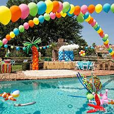 Summer Party Decorations Diy Balloon Rainbows Turn Your Pool Or Patio Into A Party Zone