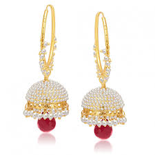 buy earrings online online sukkhi sparkling gold plated pearl jhumki for women