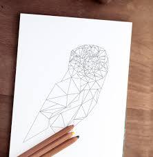owl coloring printable page 8x10 jpg geometric