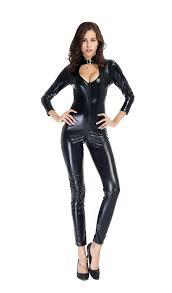 Woman Black Halloween Costume 2017 Halloween Costume Jumpsuit Pu Black Elastic Catsuit