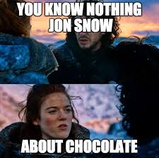 You Know Nothing Jon Snow Meme - chocolate meme of the month for december 2017 you know nothing
