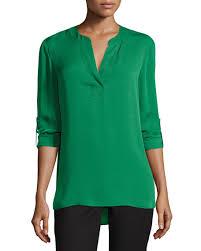 diane von furstenberg esti silk high low blouse green