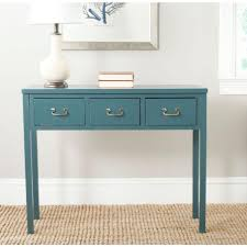 Grey Color Walls Blue Console Table With Drawers And White Shade Table Lamp And
