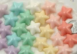 20mm beautiful pastel puffy star flatback resin cabochon pink