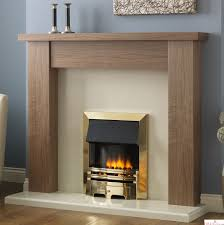pureglow stanford walnut fireplace suite surround backpanel and