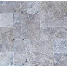 silver pattern 16 in x 24 in tumbled travertine paver kit 10