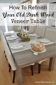 how to refinish veneer table how to refinish a dark wood veneer dining room table