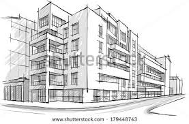 architecture sketch drawing buildingcity stock vector 179448743