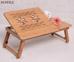 Stylish Computer Desk Online Shop Sufeile Natural Bamboo Laptop Table Desk Adjustable