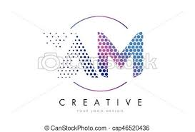 am a m pink magenta dotted bubble letter logo design vector