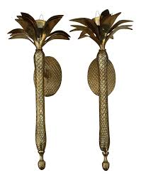 Pineapple Wall Sconce Vintage Brass Palm Tree Candle Wall Sconces A Pair Chairish
