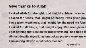 give thanks to allah poem by sumaira poem