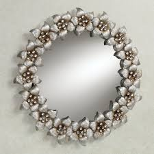 Wall Mirrors Blooming Jewels Metal Flowers Round Wall Mirror