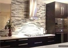 Kitchens With Backsplash Modern Espresso Cabinet White Glass Metal Kitchen Backsplash