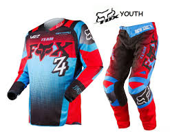 kids motocross racing 2015 fox racing youth kids imperial blue 180 race mx jersey pant