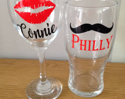 his hers wine glasses couples wine glasses etsy