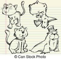 clipart vector of sketch doodle animals vector set csp9394485