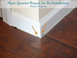 mark quarter round to make re installation easy diy laminateflooring flooring