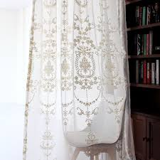 Embroidered Sheer Curtains Classical Embroidered Floral Pattern White Sheer Curtain
