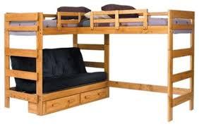 Bunk Bed For 3 Boone Sleeps 3 Or 4 Higher L Shape Loft Transitional Bunk Beds
