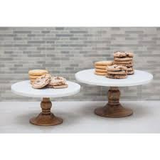 marble cake stand 10 in x 5 in white marble and brown wood cake stand 94520 the