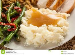 organic mashed potatoes with gravy stock image image