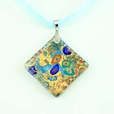 glass necklace pendants images Square glitter foil millefiori murano lampwork glass venetian jpg