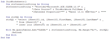join two worksheets using microsoft ace oledb 12 0 louiebao net