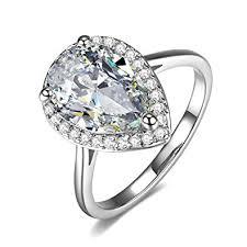 4 carat cubic zirconia engagement rings umode teardrop halo pear cut 4 carat cubic zirconia cz