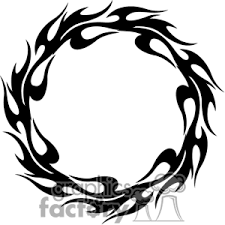 tribal flames circle tattoo design