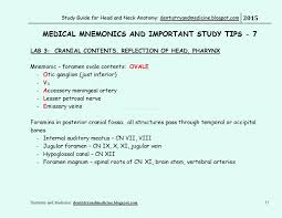 Anatomy Videos Free Download Study Guide For Head And Neck Anatomy Medical Mnemonics Cranial