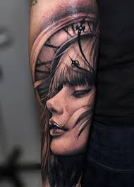 awesome face and clock tattoo for sleeve golfian com