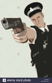 illustration drawing artwork of a police officer in uniform firing