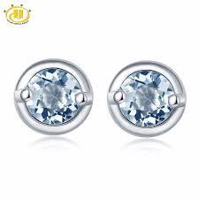 aquamarine stud earrings hutang jewelry gemstone aquamarine stud earrings